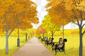 Park - Urban Park Autumn Illustration PNG