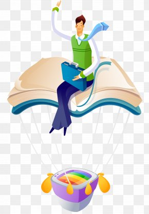 Man Sitting On The Books - Cartoon Balloon Illustration PNG