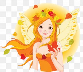 Illustration Girl, Cool Breeze, Leaves Fall - Fairy Autumn Clip Art PNG