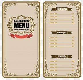 Vector Nostalgic Menu - Cafe Menu Restaurant PNG