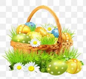 Easter Basket With Eggsand Daisies Clipart Picture - Easter Bunny Easter Basket Clip Art PNG