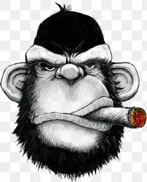 Black Gorilla - T-shirt Hoodie Cigar Monkey Iron-on PNG