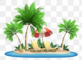 Beach Umbrella With Chairs And Palm Island Clipart - Palm Islands Hawaii Clip Art PNG