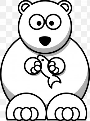 Black White Cartoon Drawings - Baby Polar Bear Cartoon Clip Art PNG
