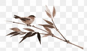 Vector Hand-painted Bamboo Sparrow - Japanese Painting Ink Wash Painting Cherry Blossom PNG