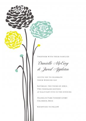 Aqua Cliparts - Wedding Invitation Dahlia Flower RSVP PNG