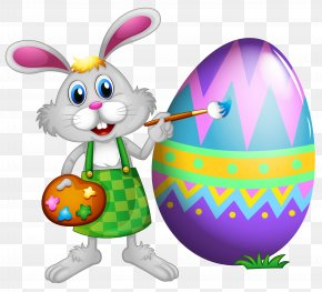 Easter Bunny And Colored Egg Clipart Picture - Easter Bunny Clip Art PNG