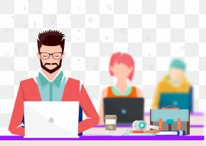 Flat Cartoon Characters - Office Coworking Clip Art PNG