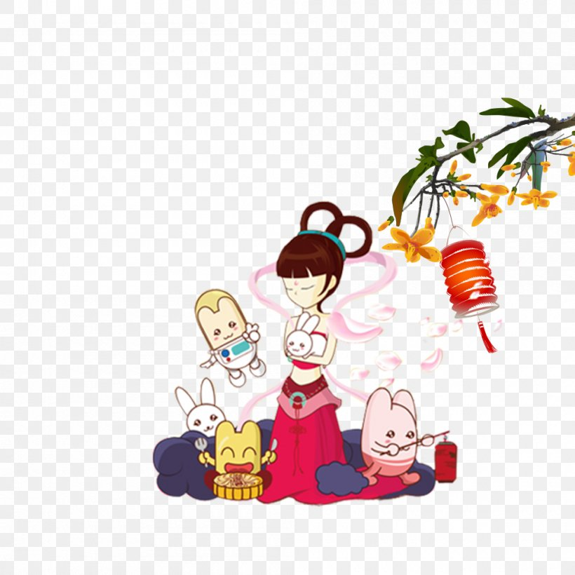 Mid-Autumn Festival Poster Moon Rabbit, PNG, 1000x1000px, Midautumn Festival, Art, Banner, Cartoon, Change Download Free