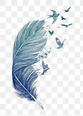 Blue Feather - Bird Feather Printmaking Tattoo Printing PNG