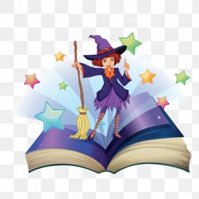 Cartoon Cute Little Witch Standing On The Magic Book - Book Cowboy Clip Art PNG