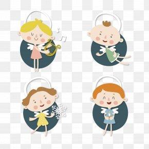 Cartoon Angel Sticker Vector Material - Cartoon Sticker Drawing PNG
