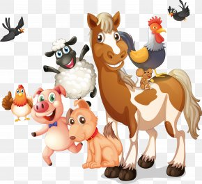 Vector Cartoon Animals - Farm Livestock Illustration PNG