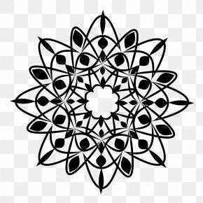 Design - Black And White Floral Design Stencil PNG