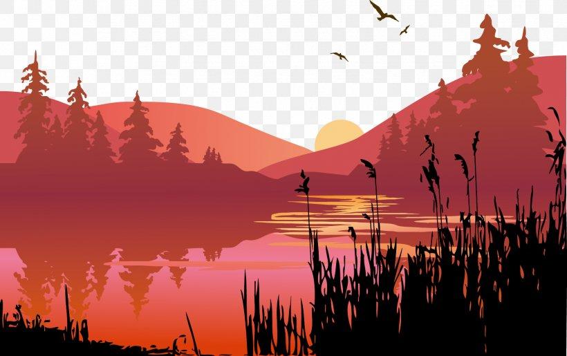 Lake Sunset Clip Art