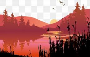 Vector Lake - Sunset Lake Clip Art PNG