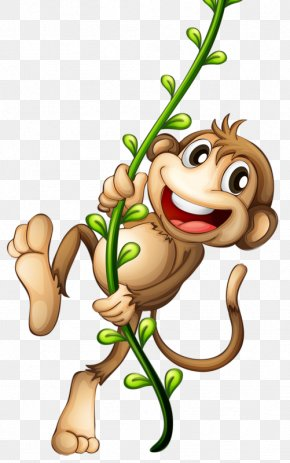 Hand-painted Little Monkey - Cartoon Monkey Clip Art PNG