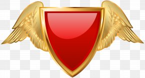 Badge With Wings Red Clip Art - Badge Clip Art PNG