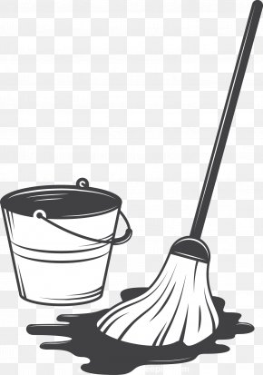 Mop And Bucket - Cleaning Tool Illustration PNG