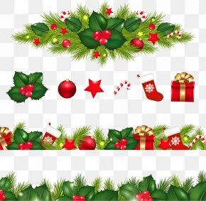 Christmas Border - Christmas Decoration Garland Clip Art PNG