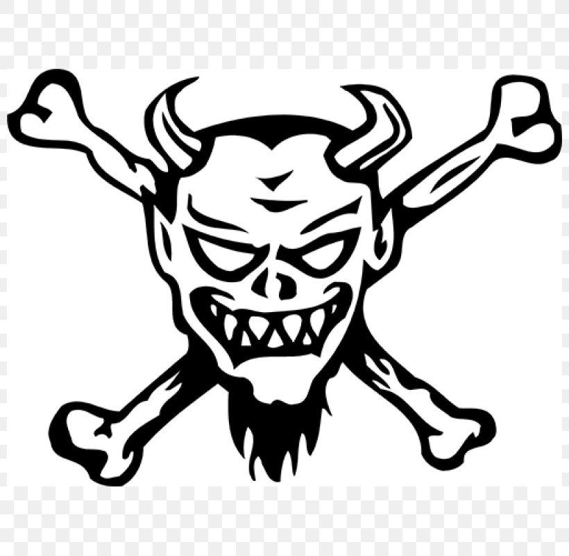 Decal Sticker Skull And Crossbones Devil, PNG, 800x800px, Decal, Art, Artwork, Black, Black And White Download Free
