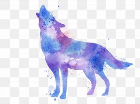 Watercolor Wolf - Gray Wolf Watercolor Painting Printmaking Printing PNG