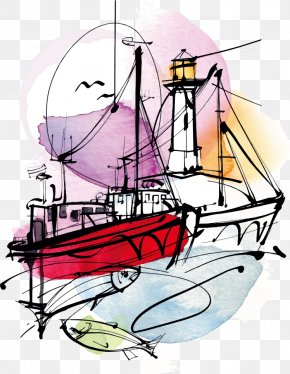 Vector Ship And Lighthouse - Watercolor Painting Mu1ef9 Thuu1eadt Illustration PNG