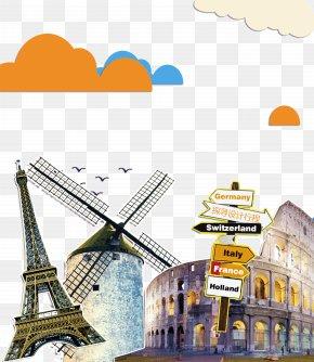 Tourist Travel Poster Elements - Eiffel Tower Tourism Travel PNG
