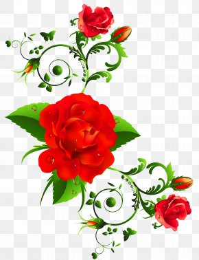 Red Roses Decor Clipart - International Women's Day Wish Happiness Greeting Card PNG