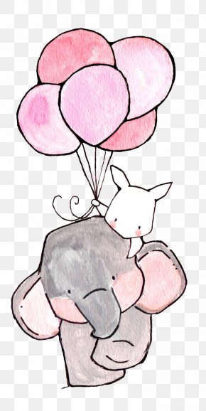 The Elephant And The White Rabbit - Paper Nursery Drawing Printing Illustration PNG