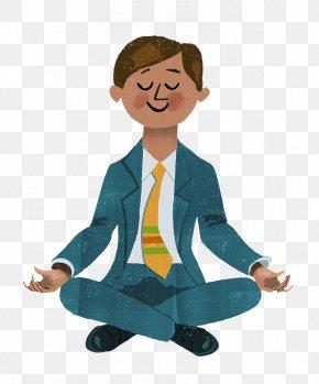 Cartoon Business Men Exercise Yoga Relax - Cartoon Pas Besoin Dxeatre Tibxe9tain Pour Mxe9diter Illustration PNG