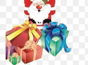 Gift Box With Santa - Christmas New Years Day Poster Sales Promotion PNG