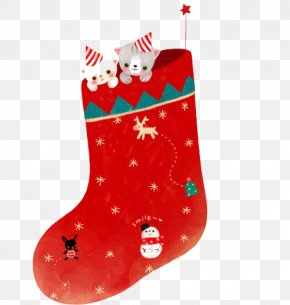 Red Christmas Socks - Santa Claus Christmas Stocking Sock PNG