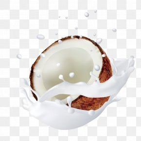 Hand-painted Splash Of Coconut Milk - Coconut Milk Coconut Water PNG