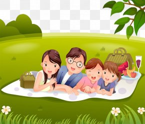 A Family Lying On The Grass - Child Cartoon Illustration PNG
