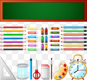 Vector Colored School Supplies - School Supplies Graphic Design Learning PNG