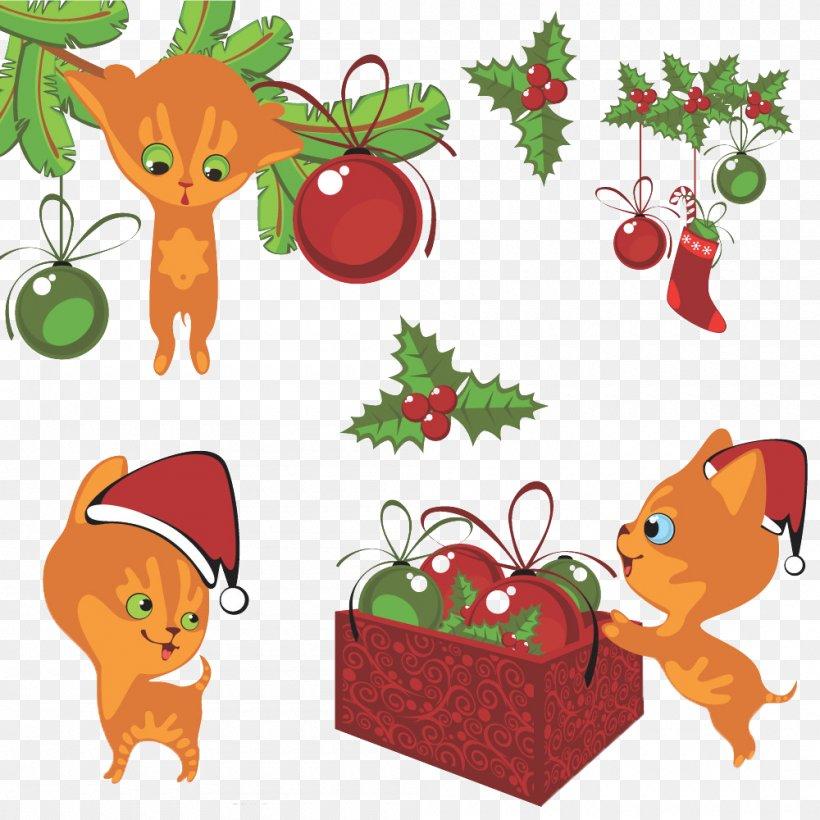 Cat Kitten Christmas Cartoon, PNG, 1000x1000px, Cat, Art