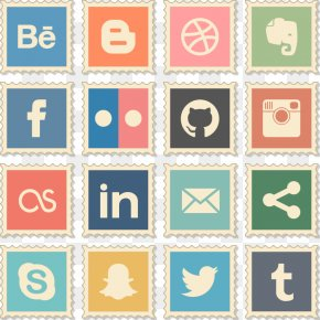 Vector Social Media Icon Stamps - Social Media Icon PNG