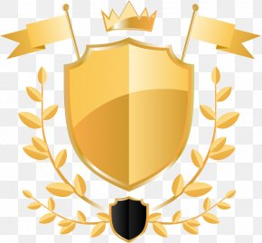 Hand-painted Banner Shield Golden Crown - Shield Adobe Illustrator PNG