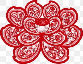 Vector Paper Cutting Red Lotus - Lotus 12 Papercutting Chinese Paper Cutting Art PNG