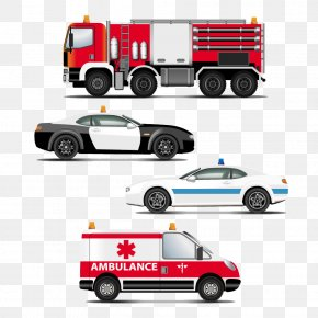 Hand-painted Cartoon Police Car Fire Engines And Emergency Vehicles - Police Car Ambulance PNG