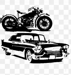 Hand-painted Motorcycles And Cars - Car Black And White Euclidean Vector PNG