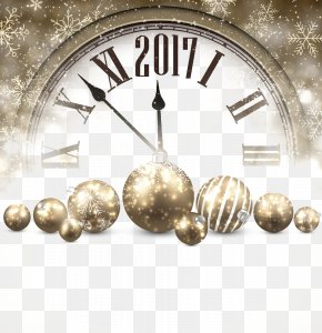 2017 Golden Clock - New Years Day New Years Eve Clock PNG