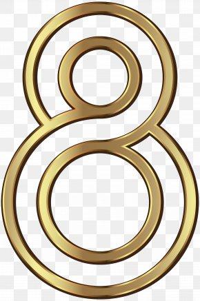 Number Eight Golden Clip Art Image - Number Clip Art PNG