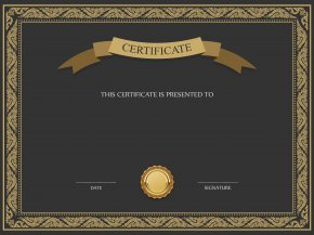 Black And Brown Certificate Template Image - Academic Certificate Template PNG
