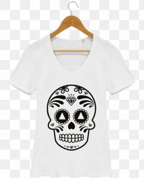 White T-shirt Design - Calavera T-shirt Skull And Crossbones Day Of The Dead PNG