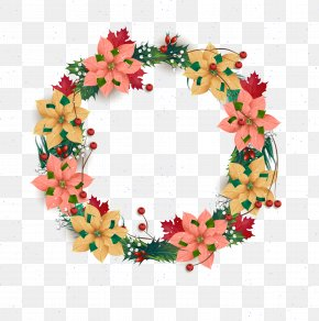 Vector Wreath - Wreath Christmas Flower PNG