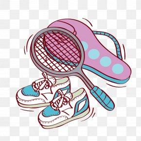Hand-painted Pink Badminton Racket - Badmintonracket Sport Badmintonracket Illustration PNG