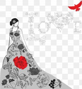 Vector Hand-painted Bride - Fashion Dress Illustration PNG