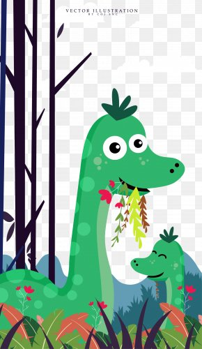 Cute Cartoon Dinosaur Illustration - Animal Cartoon Illustration PNG